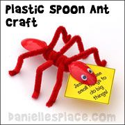 """Ant Craft - Plastic spoon ant craft from www.daniellesplace.com Use this cheap and easy ant craft for """"Consider the Ants; Bible lessons to reminder children of their Bible verse."""