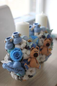 Christening, Baby Boy, Candles, Sweet, Handmade, Wedding Flower Arrangements, Baptisms, Figurine, Candy