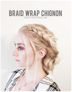 This year, we're going to get ahead of the {holiday} game! We're kicking off our Holiday Hairstyles posts a little early starting with this braid wrap chignon!