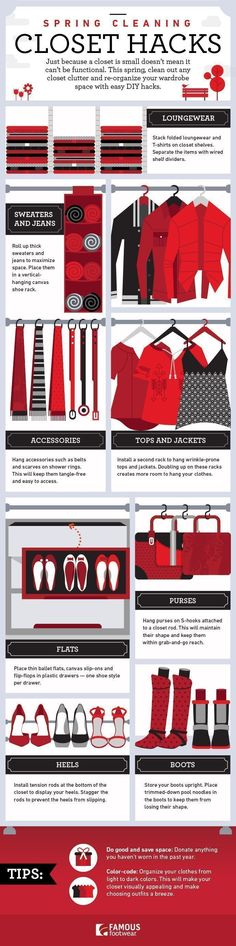 For many, spring cleaning is a time to eliminate clutter, put away the winter clothes, and get the closet ready for warmer weather. While sometimes that might mean getting rid of a few things, what about storing all the stuff you want to keep? If you're someone who can't part with clothes, accessories and shoes, you'll love these spring cleaning closet hacks we've come up with, organized (like your closet soon will be!) in this helpful guide. #clutterhacks #gettingridofclutter