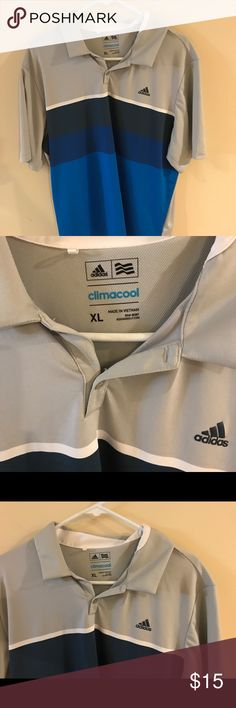 Men's XL Adidas Climacool Polo Pre-Owned Men's XL, Adidas Climacool, Polo, Gray and blue, Great condition ALL PRICES NEGOTIABLE adidas Shirts Polos