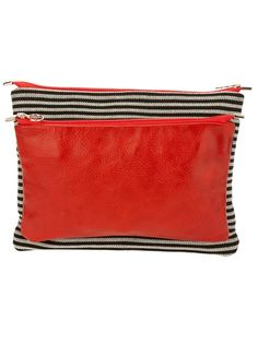 by Farfetch: Red 'Leonarda Set' Clutch-wallets from Steve Mono featuring a black and white stripe larger cotton wallet with a red calf leather smaller part, attached with clips, zip fastening and lined. 38x30 cm (large), 33x19 cms (small)
