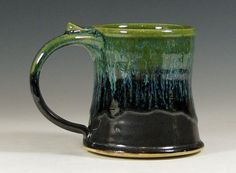 Small cup, coffee mug, ceramic, teacup, glazed in gray green,  handmade stoneware by hughes pottery