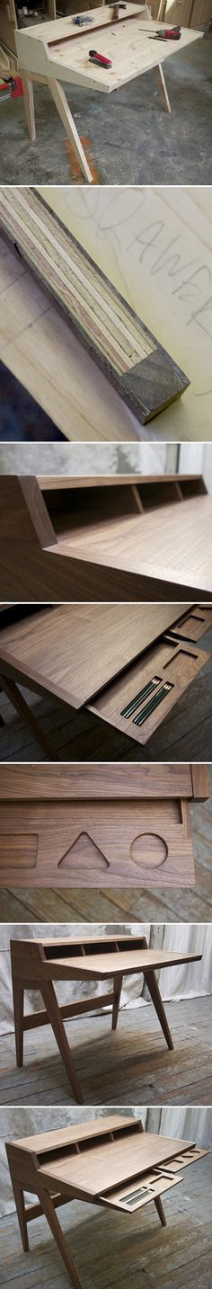 Inspired by the lines of Shaker writing desks and the mid-century classic Swag desk by George Nelson, Ben Klebba of Phloem Studio designed the Laura Desk.
