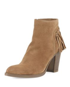 980d97fe5a45 Sartore Suede Knotted Fringe Ankle Boot