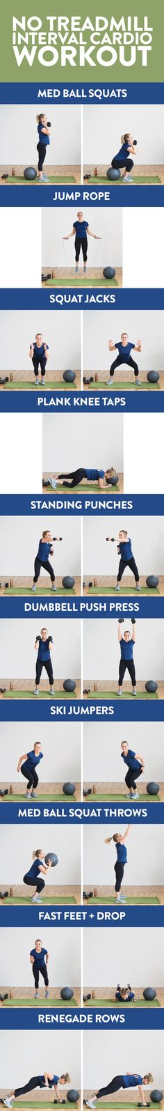 Get in all of your steps with his challenging, no-treadmill interval cardio workout. You can do this cardio workout at home or at the gym with just a set of dumbbells and a medicine ball!