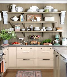 I like the varying shelf lengths and neutral tones.