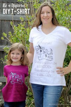 Be a Unicorn DIY T-Shirt. Make this trendy t-shirt using iron-on vinyl and your Cricut Explore. You can create this adorable shirt in just minutes! Old T Shirts, Cute Shirts, Crafts To Do, Easy Crafts, Circuit Projects, Iron On Vinyl, T Shirt Diy, Unicorn Party, Cricut Explore