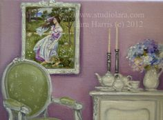 Morning Tea with Windflowers (after Waterhouse) Chair Painting in OIL by LARA 8x10. $200.00, via Etsy.