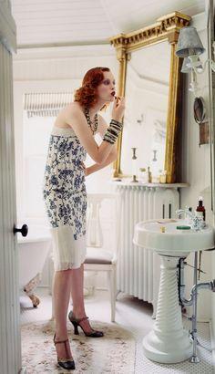 Karen Elson photographed by Arthur Elgort, Vogue, November 2003.