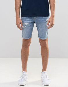 Image 1 - River Island - Short skinny en jean avec déchirures - Bleu délavé clair
