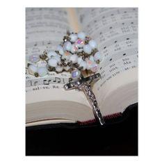 rosary music book postcard - merry christmas postcards postal family xmas card holidays diy personalize