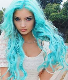 Bright turquoise blue pastel dyed hair color