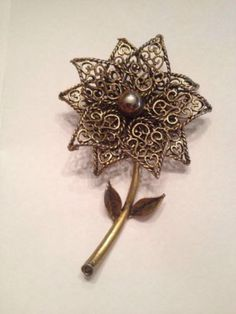 Vintage Gold Flower Brooch Pin 1950s 1960s Costume Jewelry on Etsy, $11.20