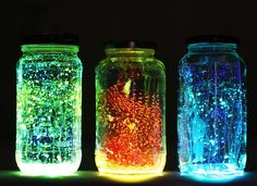 Turn mason jars and Dollar Store glow sticks into glow in the dark lanterns for the patio