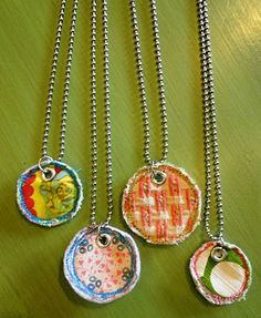 fabric necklaces...cute idea for teacher gifts!