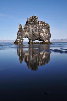 Hvitserkur, also known as the Stone Rhino. Húnaflói, West Iceland.