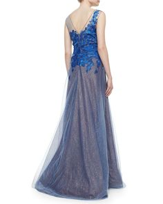 Rene Ruiz Sleeveless Illusion Petal Applique Gown