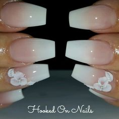 Ombre nails, 3d flower, coffin nails
