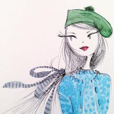 Illustration Girl, Graphic Design Illustration, Watercolor Illustration, Girl Sketch, Cartoon Wallpaper, Whimsical Art, Art Sketches, Fashion Sketches, Face Art