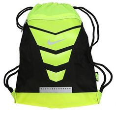 Carry the Nike Vapor Drawstring Backpack to the gym to achieve a great polyesterDrawstring top closureDual cord shoulder strapsPerforation detail at bottom provides breathabilityFront zip closureLogo x Yellow Nikes, Neon Yellow, Volleyball Bags, Nike Neon, Nike Vapor, Black Neon, Nike Outfits, Active Wear For Women, Black Backpack