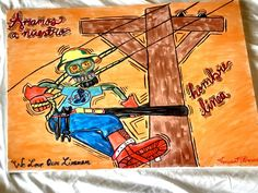 We love our lineman #fordad #forhim #art #dayofthedead #painting #lineman #electrical