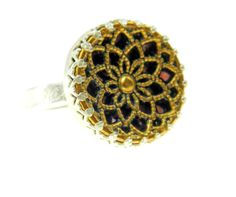 Flower filigree button ring, silver