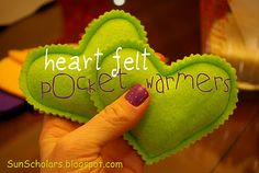 Heart Felt Pocket Warmers (a tutorial).  These are so simple to make... Little fleece hearts filled with rice.  Pop them in the microwave for 25 seconds and toss into your child's pockets before they go out on a cold day.  They'd make sweet little Valentines :)