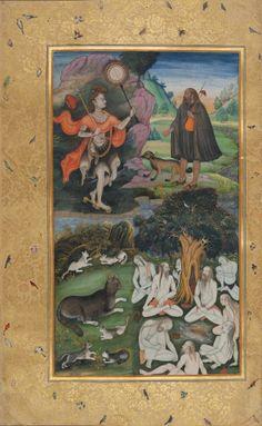 Paisaje con Yoguis  Acuarela opaca y oro en papel.  Dinastía Mughal, India. Principios del S. 17.  Nath, Ramananda y yoguis sanniasins