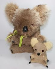 "Toy Koala Mom 14"" and Baby 6.5"" Stuffed Animal Bear Sturdy Body Vintage Real Fur"