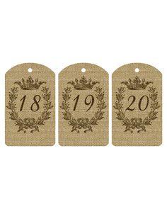 Free Printable Burlap Number Tags 1-20