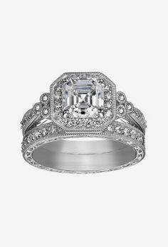 Platinum-Plated Sterling Silver Swarovski Zirconia Wedding Ring Wedding Makeover, Wedding Jewelry, Wedding Rings, Queens Jewels, Nail Jewels, Wedding Inspiration, Wedding Ideas, Classy Lady, Happy Wife