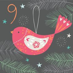 Advent day 9 birdy Christmas Calendar, Christmas Love, Christmas Greetings, Xmas, Advent Calander, Calendar Numbers, Jingle Bells, Merry And Bright, Christmas Projects