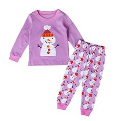 Skating Snowman Stands Girl Cotton Boys-Girls Sleepwear Pajama 2 Pcs Set