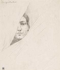 Armand Rassenfosse (1862 - 1934) - Inquiétude, Dessin au crayon