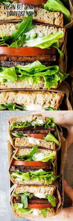 Vegan BLT sandwich with aquafaba mayo – Lazy Cat Kitchen - Vegan Sandwich Delicious Vegan Recipes, Vegetarian Recipes, Healthy Recipes, Tofu Recipes, Blt Recipes, Sandwich Recipes, Healthy Habits, Lunch Recipes, Whole Food Recipes