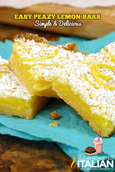Easy Peazy Lemon Squeezy Bars Recipe ~ Says: These mouthwatering lemon bars are bright and vibrant, they are utterly delicious.  The creamy texture and lemony flavor makes these a crowd favorite!  Easy prep, easy cleanup and gone in a snap.  These are perfect ANYTIME bars!  Just make sure you bring the recipe with you, because you will get a lot of requests for it