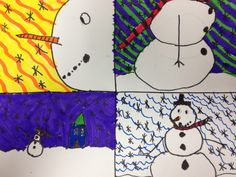 3rd grade art lessons | Third graders drew snowmen from four different points-of-view. Allow ...