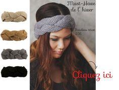 Accessoire de coiffure mode indispensable, le bandeau cheveux turban en maille torsadé d'hiver pour femme se porte tendance sur cheveux longs et courts.