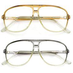 f730eda29e Retro Anti Reflective Clear Lens Glasses Vintage Aviator Gold Metal Frame