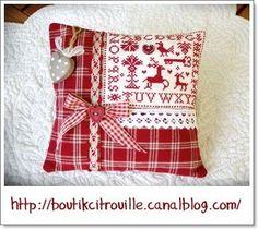 Patchwork pillow - cute idea..