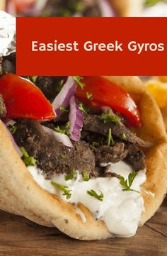 Greek Gyros 20 minutes only to prepare the whole dish! Try it for your next minutes only to prepare the whole dish! Try it for your next party. Greek Recipes, Meat Recipes, Chicken Recipes, Cooking Recipes, Lunch Recipes, Summer Recipes, Beef Gyro, Lamb Gyros, Greek