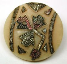 """Antique Victorian Glass Button Embroidery Floral Design w/ Luster & Paint 7/8"""""""