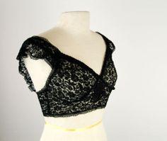 Vintage 1930s black lace bra, sheer lace camisole, side buttons, satin flower ap