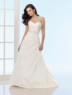 A-line Sweetheart Ruffles Sleeveless Sweep/Brush Train Taffeta Wedding Dresses For Brides