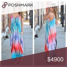 """✔️FINAL PRICE✔️was$65 TieDye Maxi Dress❣️LAST1 ‼️LAST ONE, NO RESTOCK‼️Stunning tie-dye Maxi Dress-colors of a sunset//perfect for your summer days at the beach//time at a festival//strolling through the farmers market//at a backyard BBQ. This beauty features a super Soft & stretchy blend of 95%Rayon&5%Spandex & has invisible pockets. Approximate measures flat before stretch-Width pit2pit 17"""" Wide & Length is approx 51-52"""" flat but stretches to about 55"""" when on due 2 stretch/weight of…"""