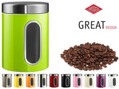 Keep your coffee beans in sight with the Wesco canisters with window.