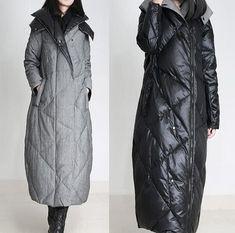 Double Sides Long Down Jacket Women Winter Duck Down Coat