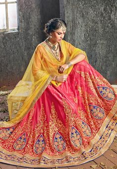 Buy Peach Net Lehenga Choli with Dupatta online,Item code: LZR19, Occasion: Bridal, Work: Contemporary, Fabric: Net, Gender: Women