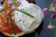 Beetroot + sweet potato rosti with salmon and cream cheese Sweet Potato Rosti, Poached Eggs, Beetroot, Salmon, Potatoes, Cheese, Cream, Breakfast, Food
